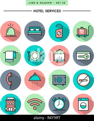 set of flat design,long shadow, thin line hotel services icons - Stock Photo