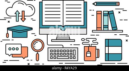 Thin line flat design concept of online education - Stock Photo