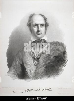 Sir John Malcolm. Portrait of Sir John Malcolm, soldier and administrator, Governor of Bombay 1827. Lithograph by R.J. Lane after George Hayter. Published in 1832. Lithograph. British school. . Source: P616,. Author: RICHARD JAMES LANE. - Stock Photo