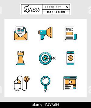 Set of flat design thin line icons of digital marketing - Stock Photo