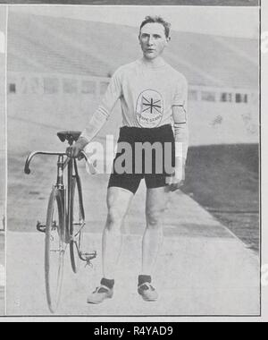 C.B. Kingsbury (Great Britain), winner of 20 kilometres cycling, after a terrific race, by six inches. Clarence Brickwood Kingsbury. British track cyclist who won the gold medal in the 20 kilometres competition as well as in the team pursuit as member of the British team. Illustrated Sporting & Dramatic News. 18th July 1908. Photograph from a newspaper on the 1908 Olympic summer Games in London. Source: Illustrated Sporting & Dramatic News, page 803 detail. Language: English. - Stock Photo