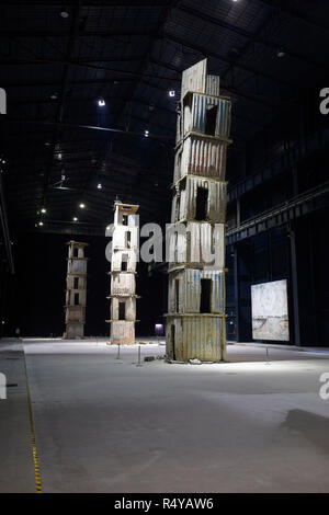The Seven Heavenly Palaces by Anselm Kiefer at the Art exposure at Pirelli Hangar Bicocca in Milan, Italy - Stock Photo