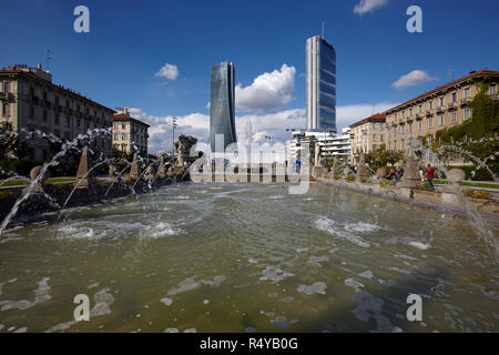 The moder architecture of Citylife district, from Giulio Cesare square, in Milan, Italy - Stock Photo