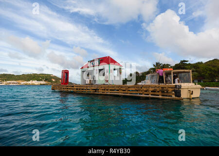The Ole' Red Box on Pusser's Marina Cay in the British Virgin Islands bareboat yacht charter vacation. - Stock Photo