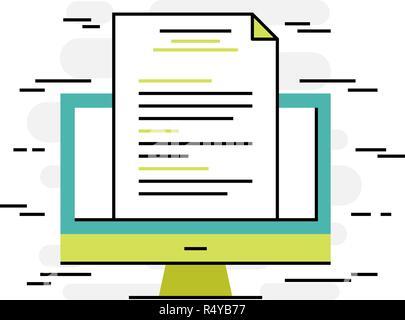 Flat design thin line concept of digital document - Stock Photo