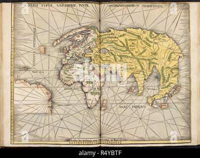 Orbis Typvs Vniversaus IVXIX HydrographorVm Traditionem. A map of the Ancient World. Europe Africa and Asia. . Map of the Ancient World. Lithographed from an atlas to Ptolemy's Geography ... Rome, 1478]. Strasbourg, Germany. Published in 1513. Source: Maps C.1.d.9. Language: Latin. - Stock Photo