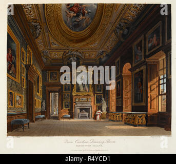Queen Caroline's drawing room. Kensington palace, Colour illustration / plate. Author William Henry Pyne, Illustrated by C Wild. Museum: BRITISH LIBRARY. - Stock Photo