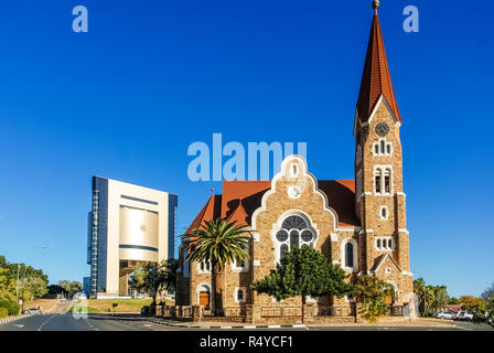 The Independence Memorial Museum and the Christ Church (or Christuskirche) is a historic landmark and Lutheran church in Windhoek, Namibia, Africa - Stock Photo