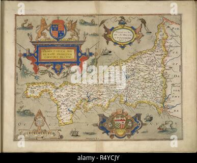 Cornwall. An atlas of England and Wales, containing 35 colou. London, 1579. Map of Cornwall. Image taken from An atlas of England and Wales, containing 35 coloured maps, drawn by Christopher Saxton and engraved by A. Ryther, R. Hogenberg, C. Hogius, N. Reynolds, L. Terwoort and F. Scatter. Originally published/produced in 1579. Source: Maps.C.3.bb.5, 5. Language: English. - Stock Photo