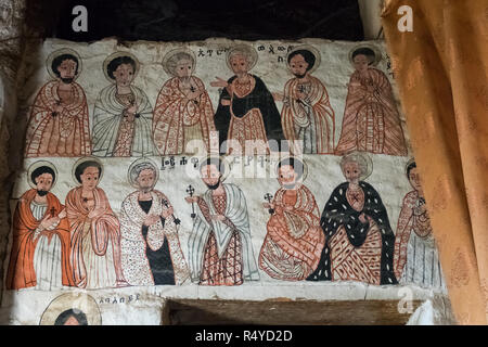 Old mural in Abba Yohanni monolithic church in Hawzen, Tigray, Ethiopia. - Stock Photo