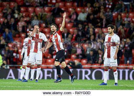 Bilbao, northern Spain, Wednesday, November, 28, 2018. (20) Aritz Aduriz celebrate goal during the Spanish Copa del Rey soccer match between Athletic Club Bilbao and S.D Huesca at San Mames stadium. Credit: Ion Alcoba Beitia/Alamy Live News - Stock Photo