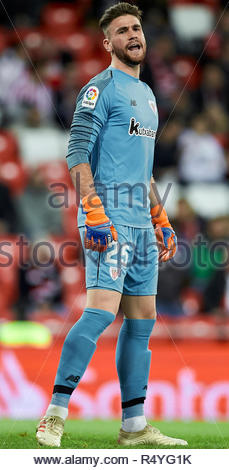 Bilbao, northern Spain, Wednesday, November, 28, 2018. (25) Unai Simon during the Spanish Copa del Rey soccer match between Athletic Club Bilbao and S.D Huesca at San Mames stadium. Credit: Ion Alcoba Beitia/Alamy Live News - Stock Photo