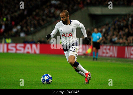 Wembley Stadium, London, UK. 28th November, 2018. Lucas Moura of Tottenham Hotspur in action. UEFA Champions league match, group B, Tottenham Hotspur v Inter Milan at Wembley Stadium in London on Wednesday 28th November 2018.  this image may only be used for Editorial purposes. Editorial use only, license required for commercial use. No use in betting, games or a single club/league/player publications . Credit: Andrew Orchard sports photography/Alamy Live News - Stock Photo