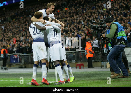 London, UK. 28th Nov, 2018. Tottenham Hotspur's players celebrate scoring during the UEFA Champions League Group B match between Tottenham Hotspur and Inter Milan at Wembley Stadium in London, Britain on Nov. 28, 2018. Tottenham Hotspur won 1-0. Credit: Tim Ireland/Xinhua/Alamy Live News - Stock Photo