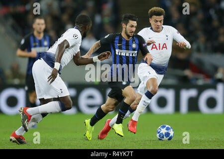 London, UK. 28th Nov, 2018. Inter Milan's Matteo Politano (2nd R) competes during the UEFA Champions League Group B match between Tottenham Hotspur and Inter Milan at Wembley Stadium in London, Britain on Nov. 28, 2018. Tottenham Hotspur won 1-0. Credit: Tim Ireland/Xinhua/Alamy Live News - Stock Photo