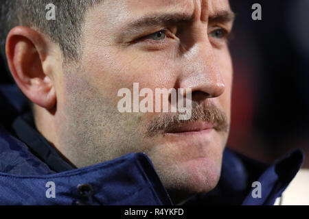 Ipswich, UK. 28th November, 2018. Manager of Bristol City, Lee Johnson - Ipswich Town v Bristol City, Sky Bet Championship, Portman Road, Ipswich - 28th November 2018  Editorial Use Only - DataCo restrictions apply Credit: MatchDay Images Limited/Alamy Live News - Stock Photo