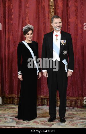 The kings of Spain, Felipe VI and Letizia receive for a gala dinner to president of People's Republic of China, Xi Jinping and his wife Peng Liyuan in the Royal Palace in Madrid. (261/Cordon Press). - Stock Photo