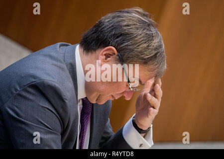 29 November 2018, North Rhine-Westphalia, Düsseldorf: Armin Laschet (CDU), Prime Minister of North Rhine-Westphalia, sits in the plenum of the state parliament. MEPs debate the UK's exit agreement with the EU and the establishment of a committee of inquiry into the death of an innocent Syrian prisoner in the Kleve prison. Photo: Rolf Vennenbernd/dpa Stock Photo