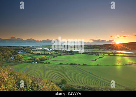 Shoreham flyover at sunset, West Sussex, Uk, Gb - Stock Photo