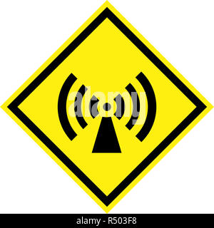 Yellow hazard sign with non-ionizing radiation symbol - Stock Photo