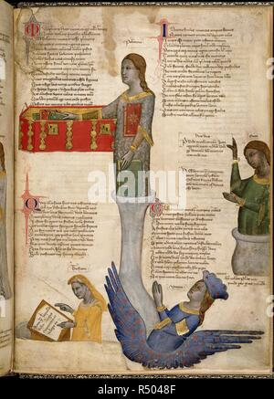 Miniature of Four Muses: Polyhymnia (choral poetry), Erato (lyric poetry), Terpsichore (dance) and Urania (astrology). Address in verse to Robert of Anjou, King of Naples, from the town of Prato in Tuscany (the 'Regia Carmina'). Italy, Central (Tuscany); c. 1335-c. 1340. Source: Royal 6 E. IX, f.30v. Language: Latin. - Stock Photo