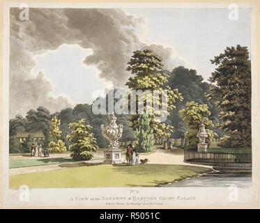Elegant figures standing in formal gardens; large, decorative urns standing on the grass; trees and bushes by pathways; a fence and a pond to the right; a building to the left in the distance. No5 A VIEW in the GARDENS of HAMPTON COURT PALACE : Taken from the Bridge over the Canal. [London] : [Publish'd Feb 1 1798 at Ackermann's Gallery No 101 Strand], [Feb 1 1798]. Etching and aquatint with hand-colouring. Source: Maps K.Top.29.14.s. Language: English. Author: Mannskirsch. - Stock Photo