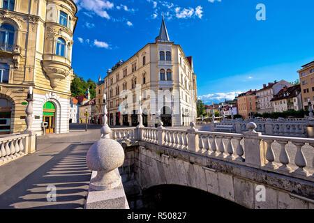 Tromostovje square and bridges of Ljubljana - Stock Photo