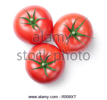 pink tomatoes isolated on white background - Stock Photo