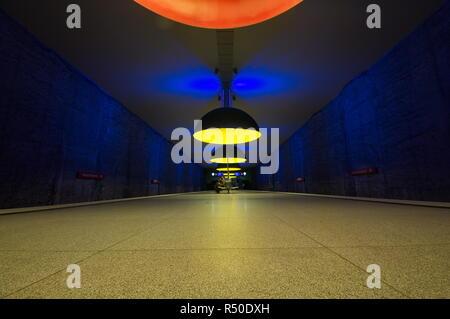 Westfriedhof subway station in Munich, Germany - Stock Photo