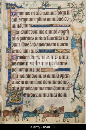 Text page; horses. Luttrell Psalter. England [East Anglia]; circa 1325-1335. [Whole folio] Psalm 102; beginning of Psalm 103, with decorated initial 'B'. Marginal decoration including a grotesque. In lower margin, four horses, one with a postilion, drawing a travelling carriage for royal ladies, which is illustrated on the preceding folio.  Image taken from Luttrell Psalter.  Originally published/produced in England [East Anglia]; circa 1325-1335. . Source: Add. 42130, f.182. Language: Latin. - Stock Photo