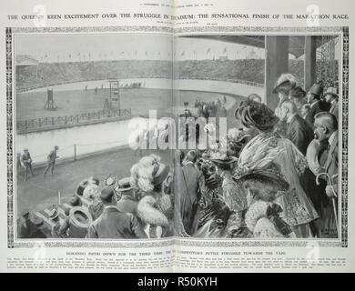 The Queen's keen excitement over the struggle in the stadium : the sensational finish of the marathon race. Dorando Pietri down for the third time : the competitor's futile struggle towards the tape.' Pietri was disqualified after being helped over the finishing line by the umpires. The American, Johnny Hayes was declared the winner. . Illustrated London News. August 1st, 1908. London, 1908 Olympics. Source: Illustrated London News, supplement. - Stock Photo