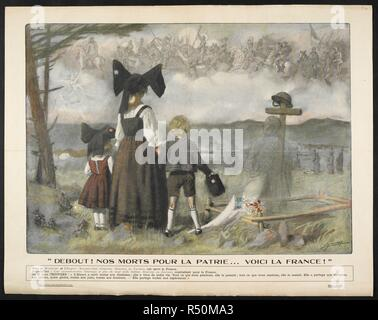 'Debout ! Nos morts pour la patrie ... voici la France !'. A propganda poster showing a Frenchwoman with two children at a burial site, looking at a vision of French soldiers from the past. [A collection of English and French War (World War I) Posters.]. 1914-1919. Source: Tab.11748.a. poster 314. - Stock Photo