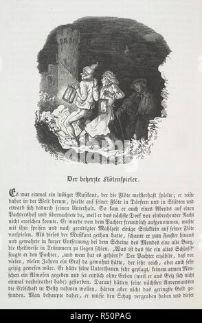 The brave Flautist. [Deutsches Märchenbuch. Herausgegeben von L. Bechs. Leipzig, 1853. Two worried looking figures carrying lanterns. A third figure is behind them, in the dark. The title of the image is 'The hearty flute player'. Vignette wood-engraving after Ludwig Richter.  Image taken from [Deutsches Märchenbuch. Herausgegeben von L. Bechstein. Mit 10 Stahlstichen.]..  Originally published/produced in Leipzig, 1853. . Source: 012403.ee.7, 108. Language: German. - Stock Photo