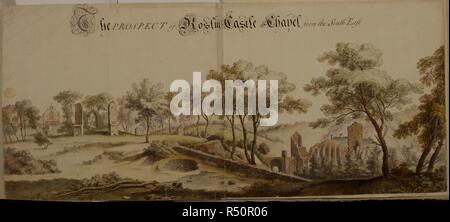 A prospect of Roslin Castle and Chapel, from the south-east . A colored 'prospect of Roslin Castle and Chapel, from the south-east'. 1761. Source: Maps K.Top.49.79.b. Language: English. - Stock Photo