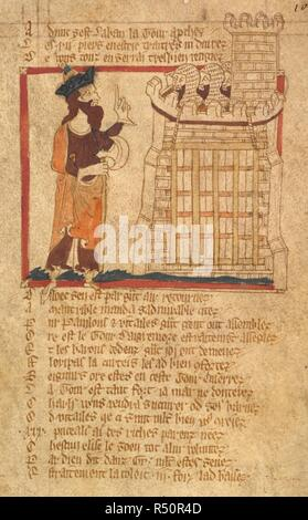 Laban besieges the castle. ROMANCES in French verse ... 14th century. Source: Egerton 3028 f.102. Author: Wace, Canon of Bayeux. - Stock Photo