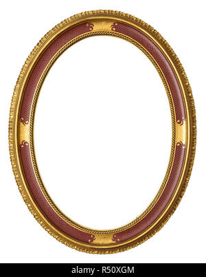 Oval golden decorative picture frame isolated on white background with clipping path - Stock Photo