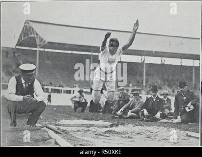Raymond 'Ray' Clarence Ewry (1873 – 1937) was an American track and field athlete who won 8 gold medals at the Olympic Games and 2 gold medals at the 'Intercalated Games' (1906 in Athens). This puts him among the most successful Olympians of all time. He is seen here competing at the 1908 Olympic games, where he won two gold medals for the standing long jump. Illustrated Sporting & Dramatic News. 25/07/1908. Source: Illustrated Sporting & Dramatic News, page 8l. - Stock Photo