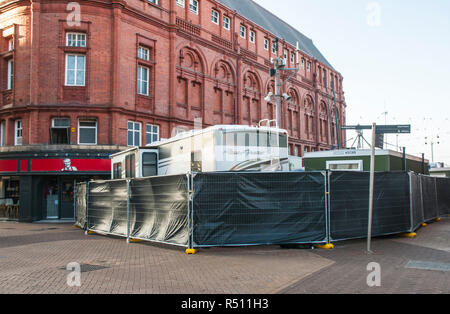 Television vans at Blackpool Tower for transmission of Strictly Come Dancing from the Tower Ballroom - Stock Photo