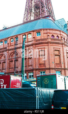 Television vans at Blackpool Tower for transmission of Strictly Come Dancing from the Tower Ballroom Power cables leading into top windows from vans . - Stock Photo