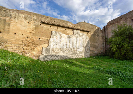 Ostia antica in Rome, Italy. Roman color mosaic located on a wall - Stock Photo