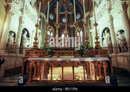 Sarcophagus of Saint Catherine of Siena beneath the High Altar in Gothic Basilica di Santa Maria sopra Minerva (Basilica of Saint Mary above Minerva)  - Stock Photo