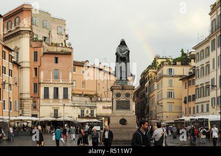 Monumento a Giordano Bruno (Statue of Giordano Bruno) designed by Ettore Ferrari on Campo de Fiori in Historic Centre of Rome listed World Heritage by - Stock Photo