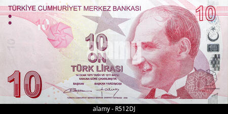 Ten Turkish Lira. TL is the official currency of Turkish Republic - Stock Photo