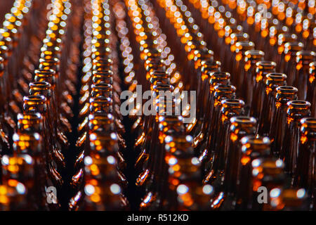 Glass bottle at factory for production of glass containers. Glass bottle texture - Stock Photo