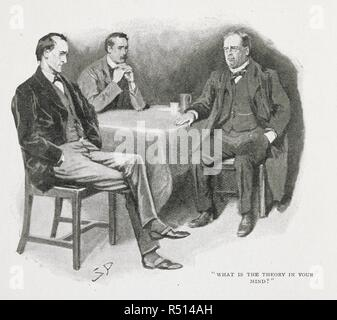 'What is the theory in your mind?' An illustration for the story, 'the adventure of the priory school.'  Sherlock Holmes, Dr. Watson and Dr. Thorneycroft Huxtable. One of the stories within the series 'the return of Sherlock Holmes.'. The Strand Magazine. An illustrated monthly. London : George Newnes, 1891-1950. Source: P.P.6004.glk, page 126, February 1904, no.158, vol.xxvii. Author: DOYLE, ARTHUR CONAN. Paget, Sydney. - Stock Photo