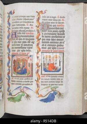 Paul (left) and Julian (right), with partial foliate borders carried by angels. Book of Hours, Use of Paris ('The Hours of René d'Anjou'). France, Central (Paris); c.1410. Source: Egerton 1070, f.86. Language: Latin, calendar and rubrics in French. - Stock Photo