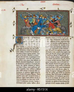 Charles Martel defeats Eudo and the Saracens. Text beginning with decorated initial 'Q'. Chroniques de France ou de Saint Denis, vol. 1. France, second quarter of 14th century. Source: Royal 16 G. VI, f.117v. Language: French. - Stock Photo