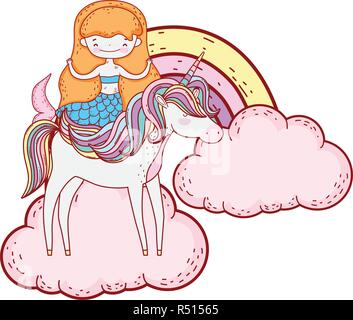 mermaid with unicorn and rainbow in clouds - Stock Photo