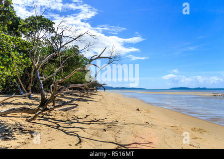 Beautiful day on the beach at Cape Tribulation, Queensland, Australia - Stock Photo