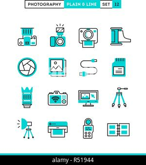 Photography, equipment, post-production, printing and more. Plain and line icons set, flat design, vector illustration - Stock Photo
